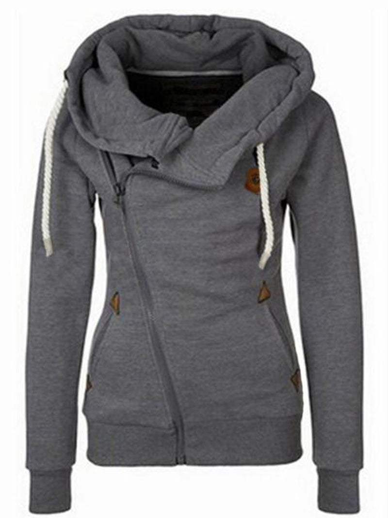 European-American Zipper with Cap Women's Sweatshirt