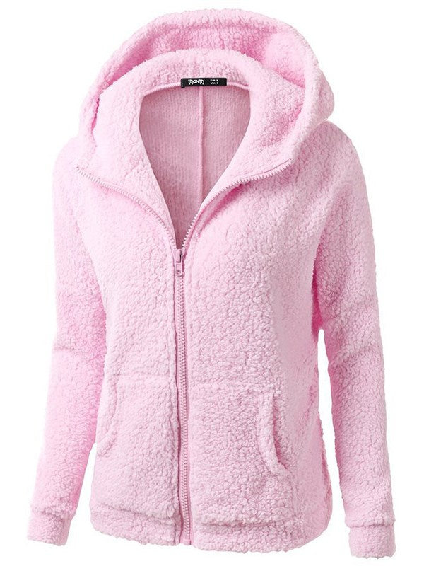 European Fashion Plain Teddy Bear Coat Women's Cardigan Hoodie