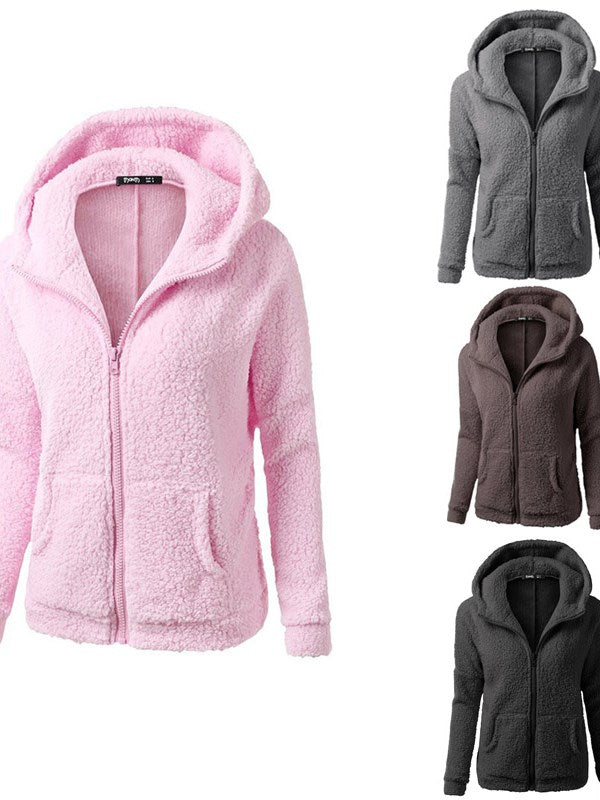 European Fashion Plain Teddy Bear Coat Damen-Strickjacke mit Kapuze