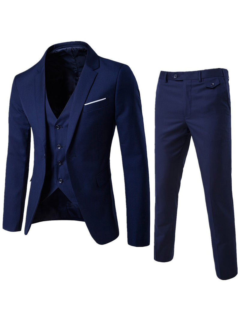Solid Color Three Pieces Single Button Men's Dress Suits