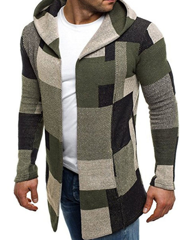 Hooded Patchwork Plaid Slim Cardigan Men's Hoodie Coat