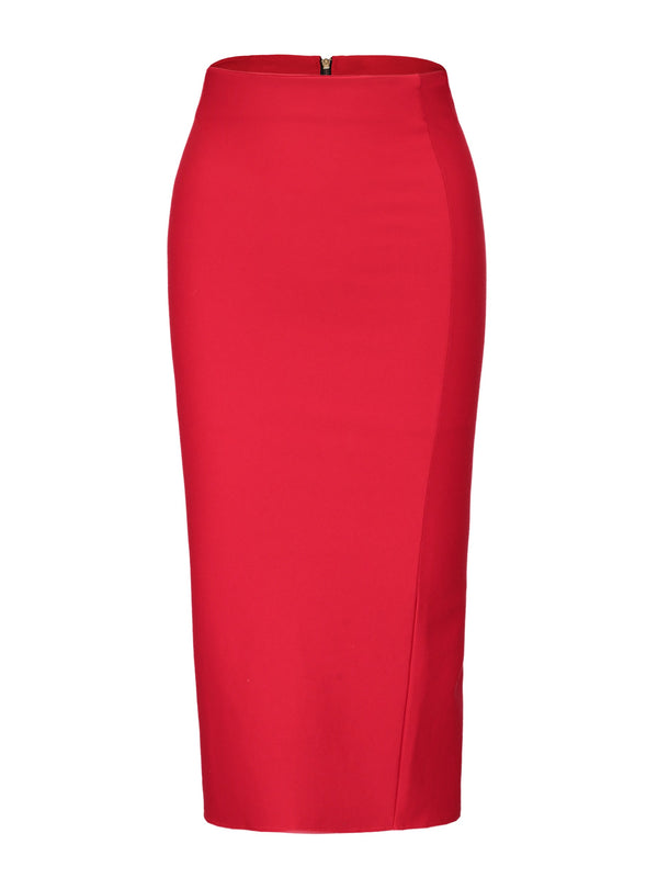 Zipper Plain Front Slit Bodycon Damenrock