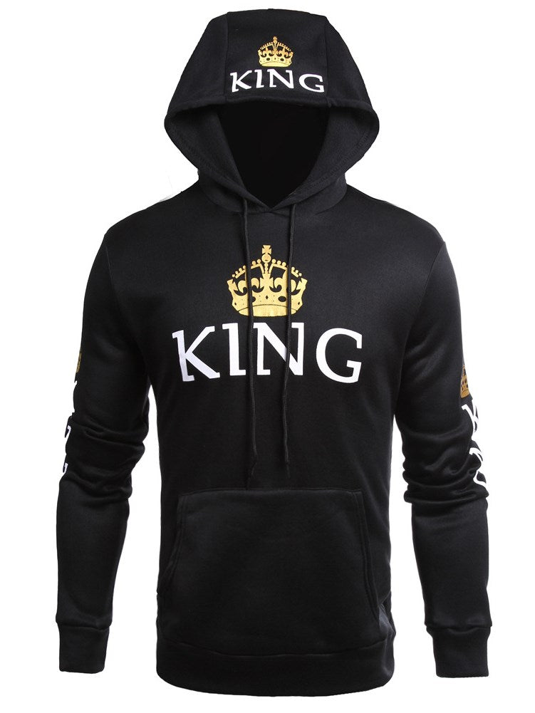 King And Queen Print Plain Slim Wear Wear sudadera con capucha para hombre