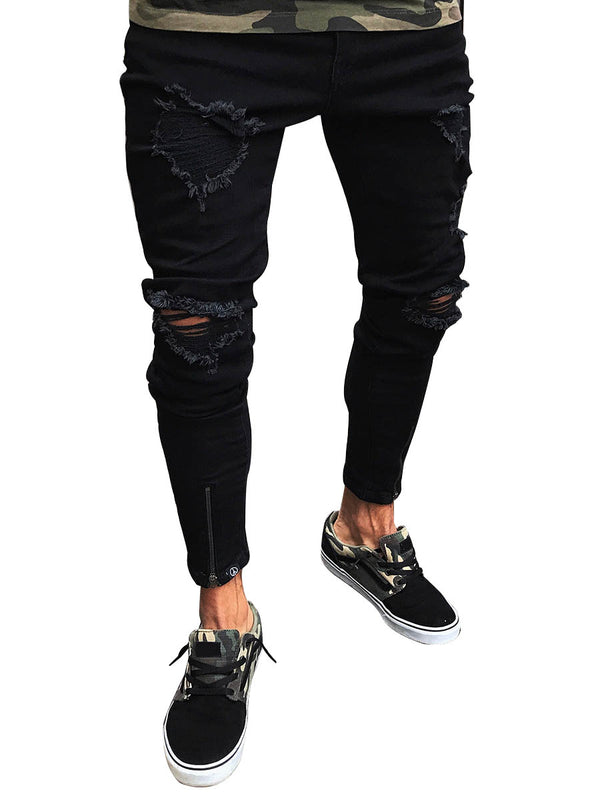 Summer Wish Black Hole Elastic Zipper Men's Pants