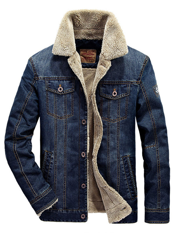 Hebedress Shearling Revers verdicken warme dünne Herren Jeansjacke