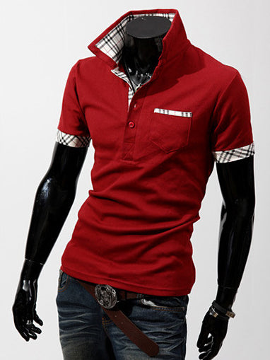 T-shirt da uomo casual slim a manica corta con collo a polo