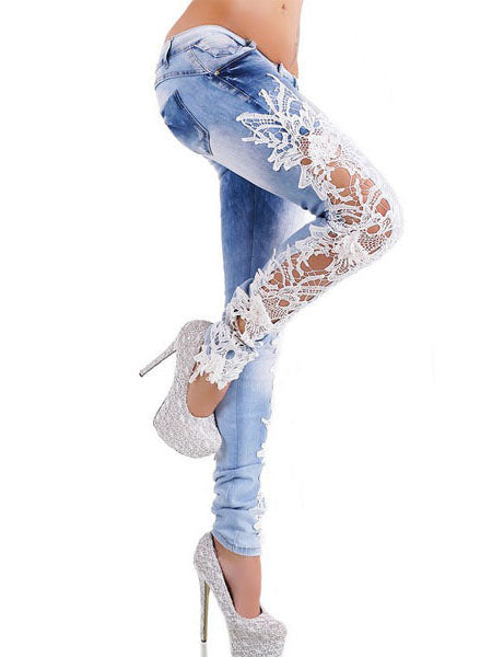 Floral Lace Patchwork Worn Denim Women's Jeans