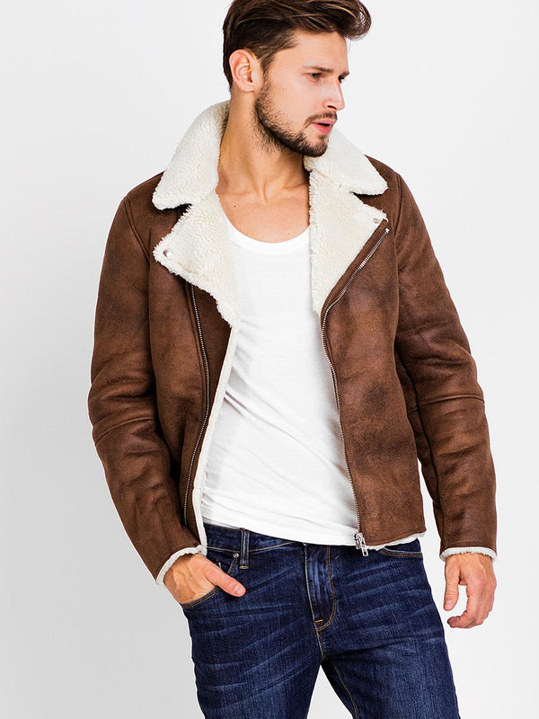 Lapel Faux Shearling Zipper Slim Men's Causal Jacket with Side Pockets