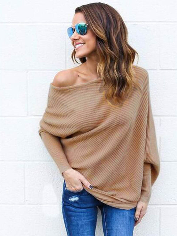 Chic One Shoulder Pure Color Knitwear