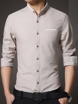 Hebedress Plain Stand Collar Autumn Men's Shirt
