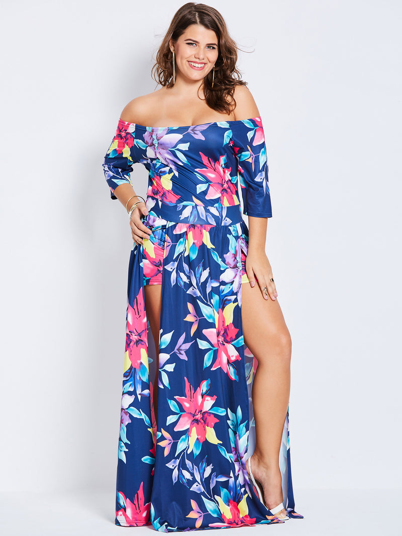 Off Shoulder Floral Print Kick Pleat Women's Maxi Dress