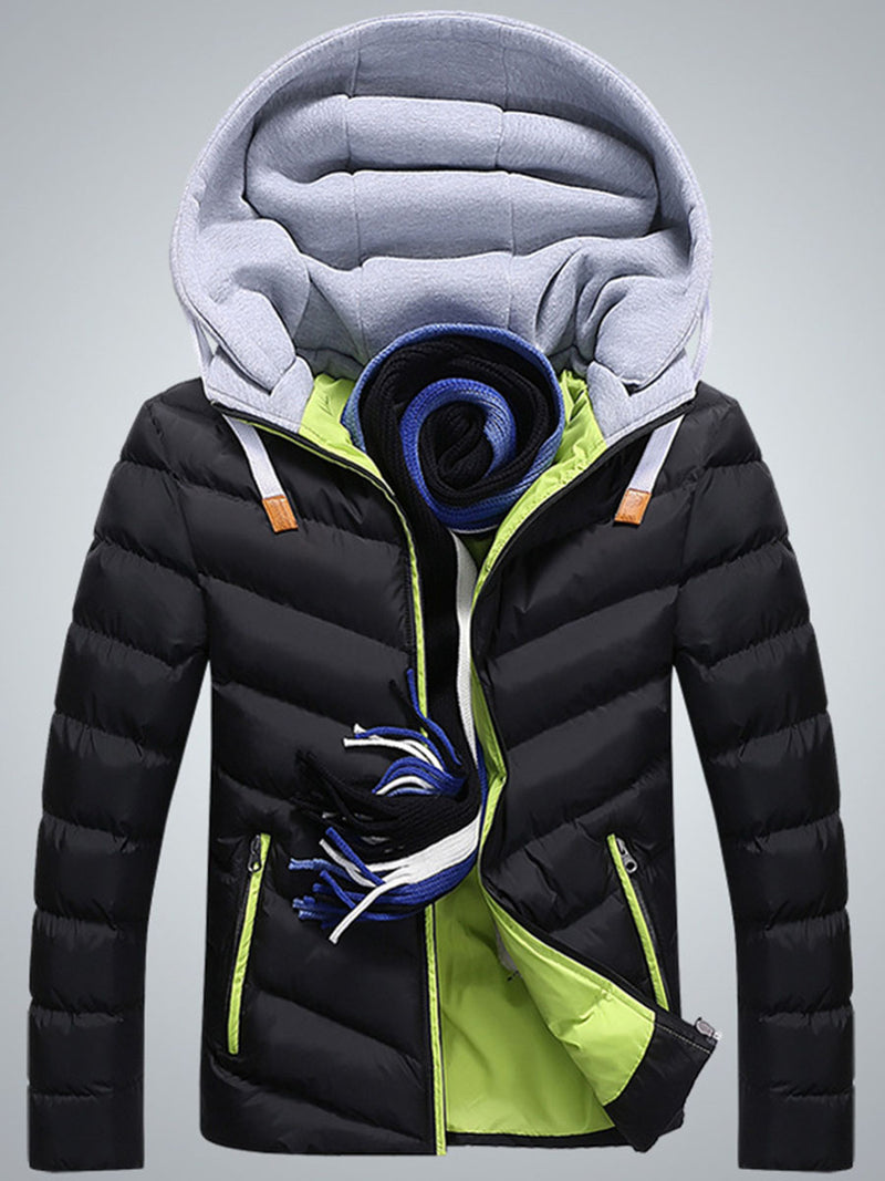 European Hooded Color Block Zip Front Men's Thicken Down Jacket