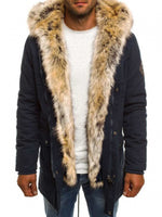 Mid-Length Plain Faux Fur Zipper Thicken Warm Men's Winter Coat