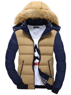Faux Fur Contrast Color Patchwork Men's Cotton Coat with Hat