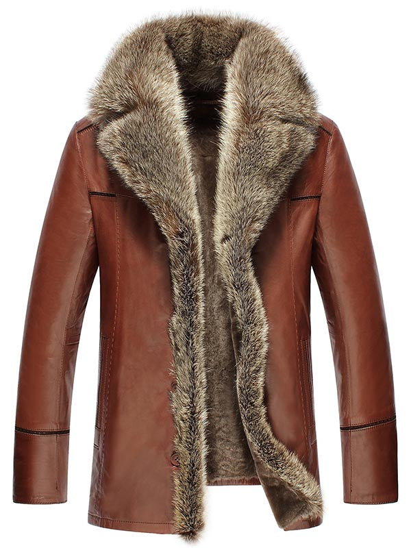 Faux Fur Collar Single-Breasted Luxury Men's PU Jacket