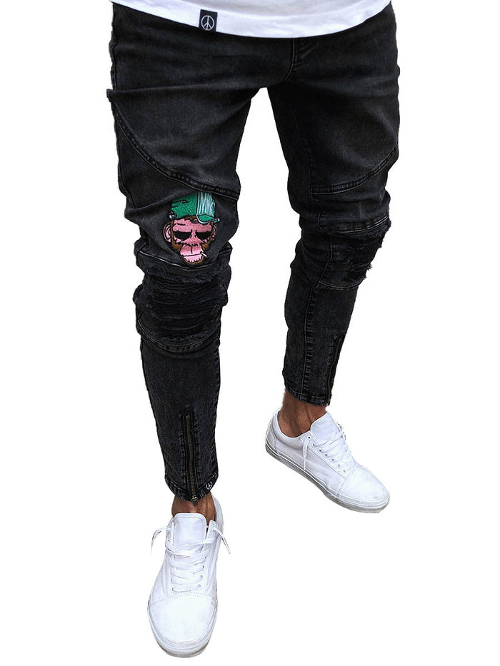 Black Denim Men's Feet Pants Hole Men's Jeans