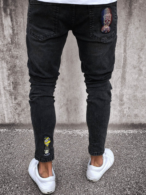 Black Denim Men's Feet Pants Hole Herrenjeans