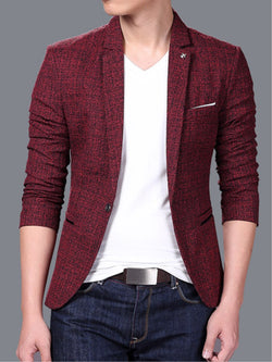 Plain Slim Fit Notched Lapel One Button Men's Leisure Blazer