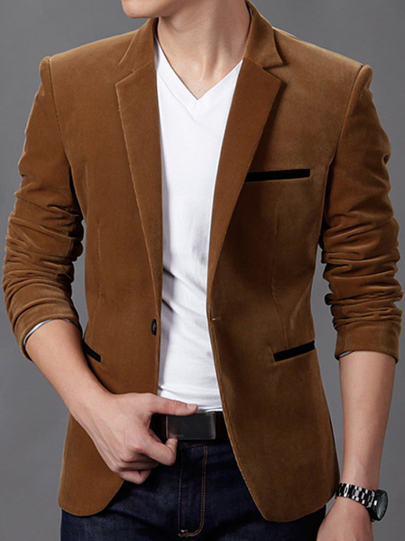 Blazer casual da uomo con colletto intarsiato