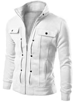 Hebedress Stand Collar Zipper Solid Color Buttons Slim Fit Men's Jacket