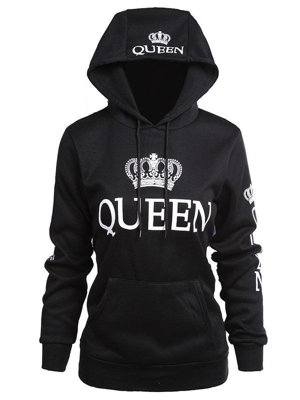 Fashion Couple Hoodies Queen and King Print Long Sleeve Sweatshirt Hoodies
