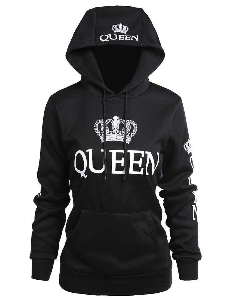 Mode Paar Hoodies Queen und King Print Langarm Sweatshirt Hoodies