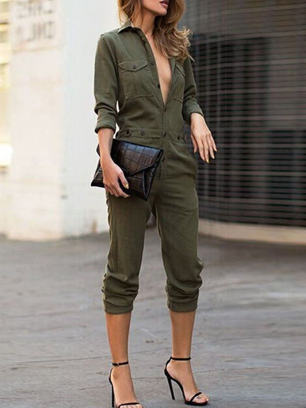 Women's Cool Deep V-Neck Long Sleeve Jumpsuits