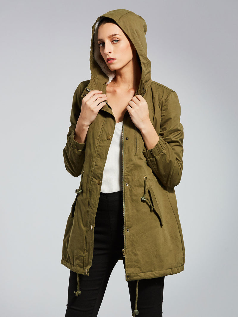 Zipper Button Pocket Plain Hooded Women's Jacket