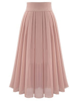 Floor Length Pleated Plain Women's Maxi Skirt