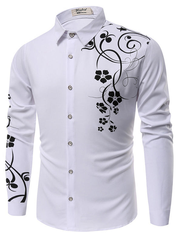 Lapel Floral Print Luxury Slim Men's Long Sleeve Shirt