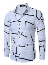 Hebedress Lapel Print Single-Breasted Men's Long Sleeve Shirt