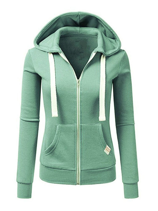 Zipper Up parches de manga larga con capucha casual para mujer