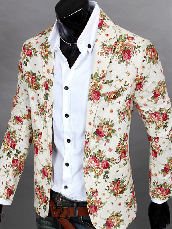Notched Collar Floral Printed One Button Casual Men's Blazer