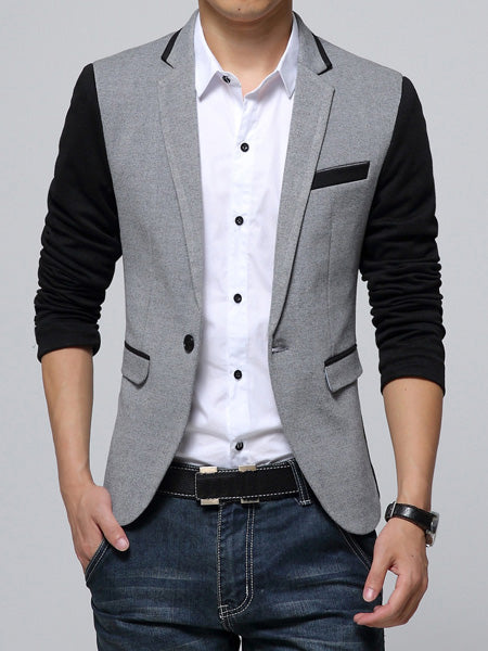 Color Block Lapel Slim One Button Men's Blazer