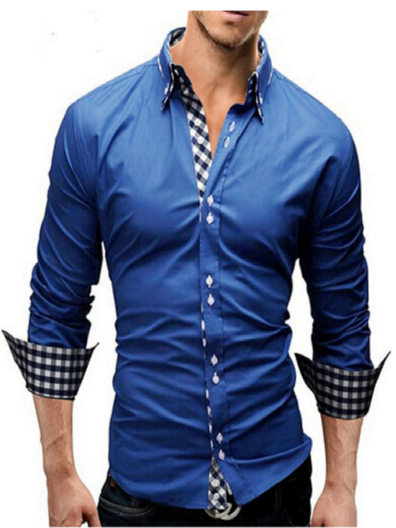 Plaid Patchwork Long Sleeve Men's Button Lapel Shirt