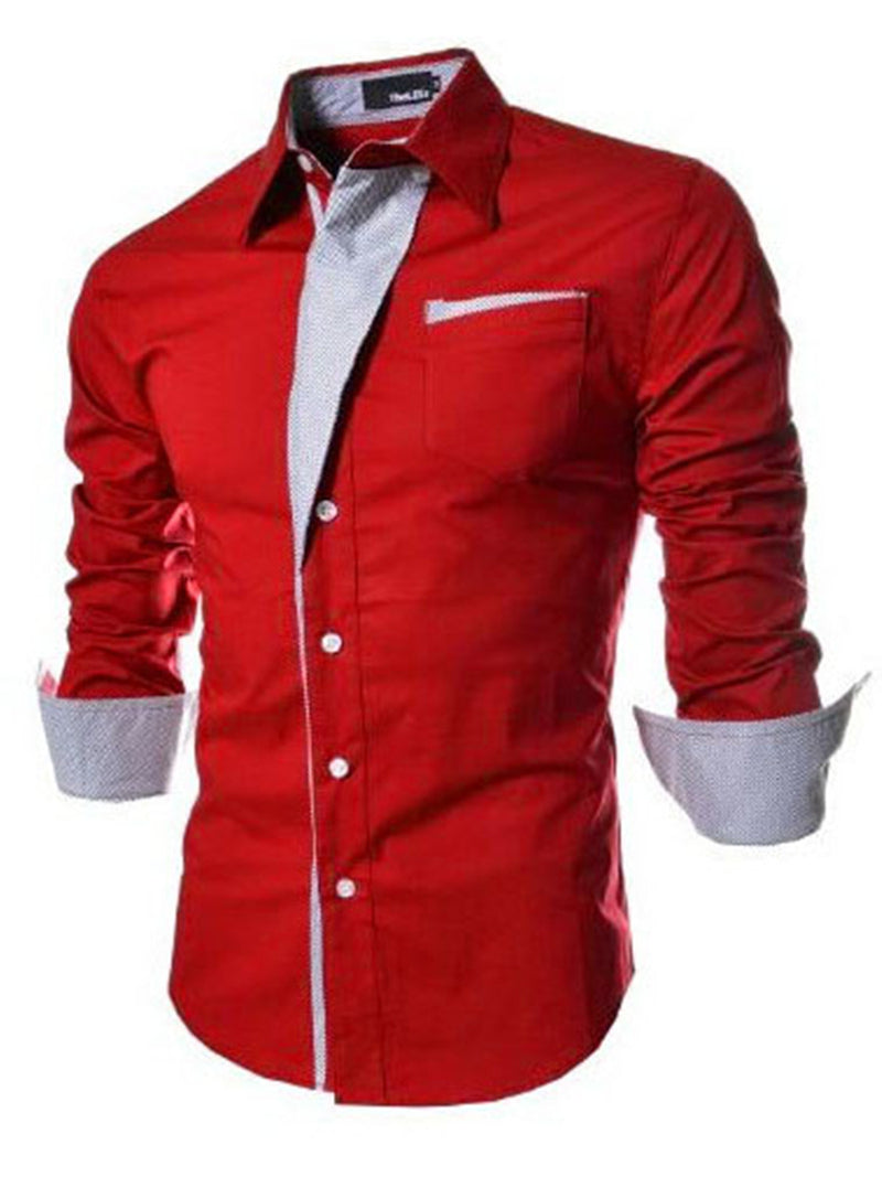 Lapel Single-Breasted Men's Casual Long Sleeve Shirt
