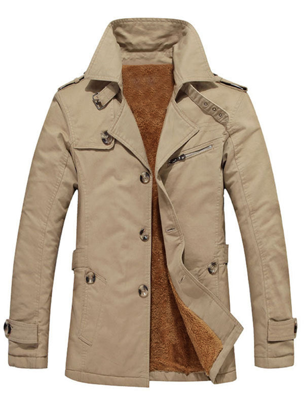 Pure Color Slim Dicker Einreiher Winter Herrenjacke