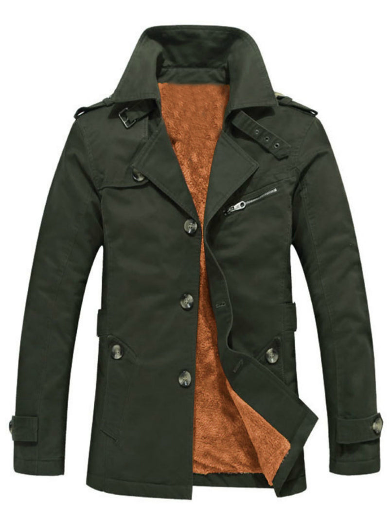 Pure Color Slim Thick Single-Breasted Winter Men's Jacket