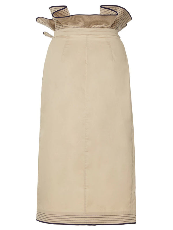 High Waisted Khaki Falbala Straight Usual Skirt