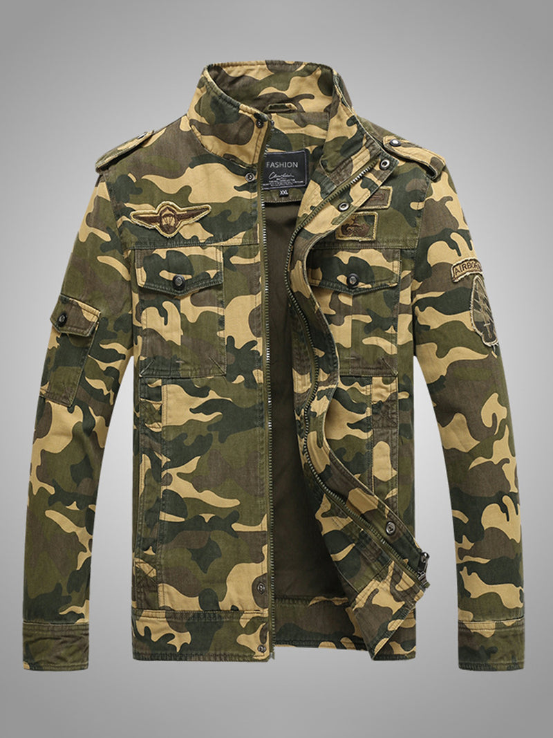 Cotton Blends Camouflage Stand Collar Zip Men's Jacket