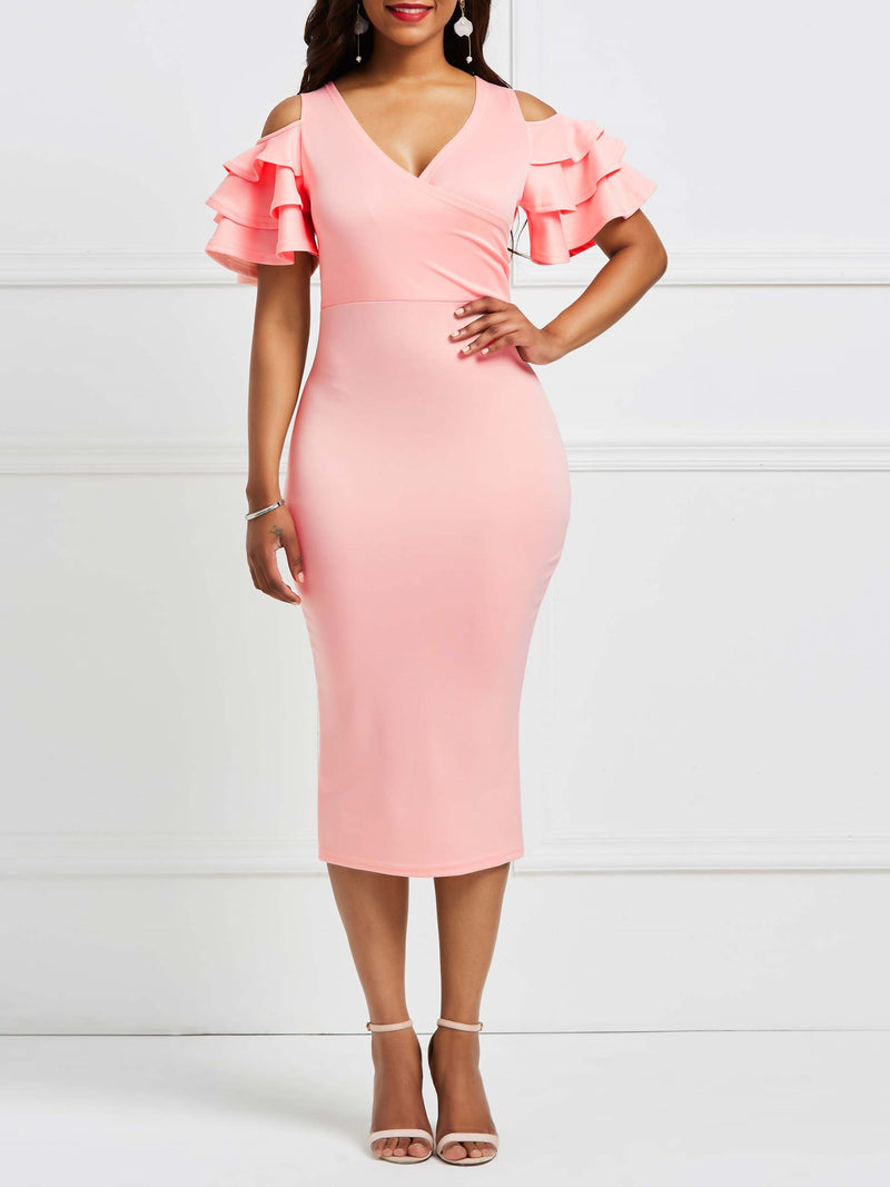 Falbala V-Neck Pure Color Bodycon Dress
