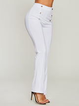 Pure Color High-Waist Loose Women's Casual Pants