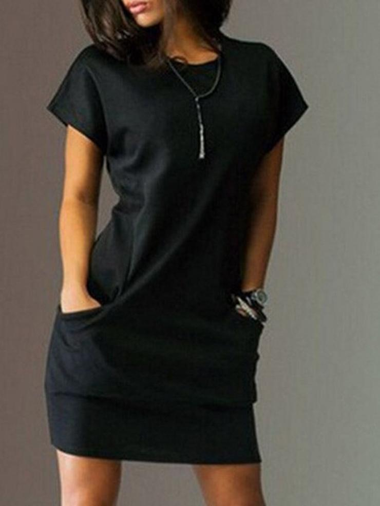 Pure Color Short Sleeve Women's Casual Dress