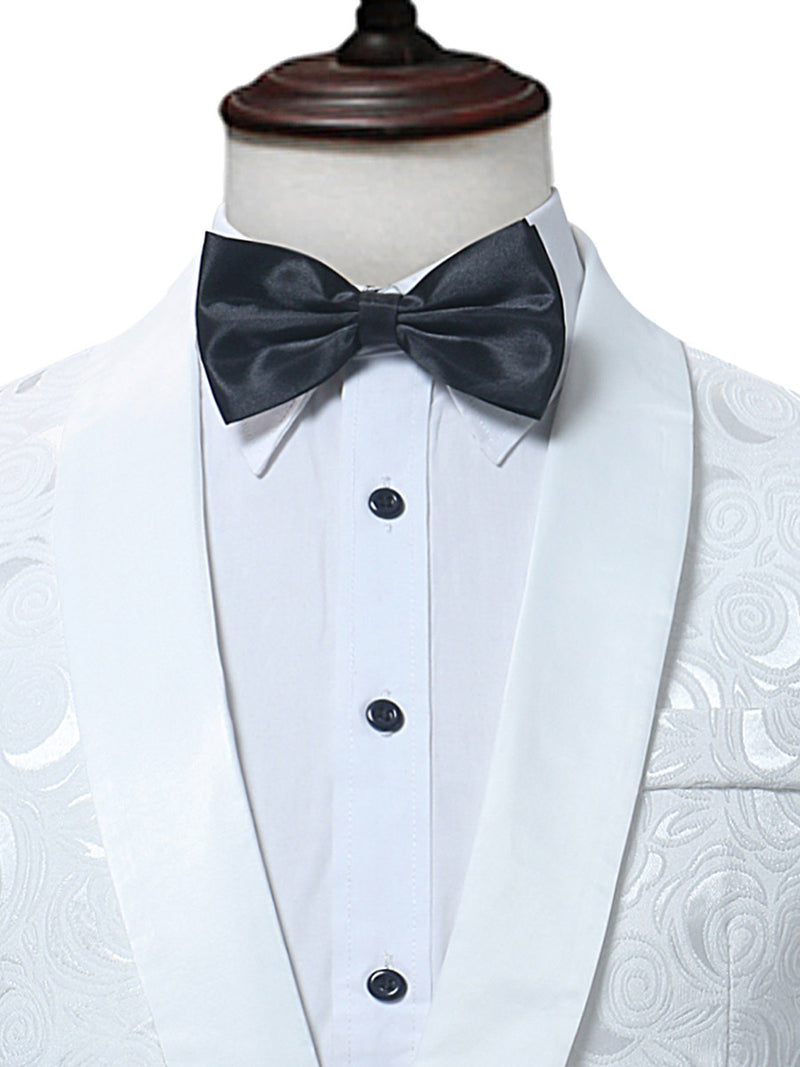Notched Collar One Button Luxury Slim Fit White Men's Dress Suit