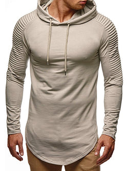 Mid-Length Plain Pleated Hooded Slim Fit Men's Hoodie