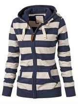 Women's Contrast Color Striped Hoodie