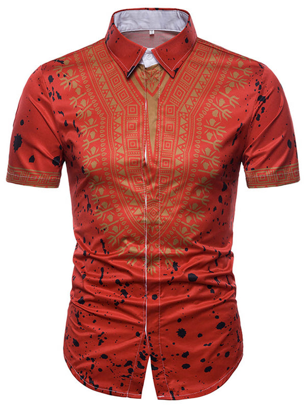 Chemise Homme Dashiki African Print à manches courtes