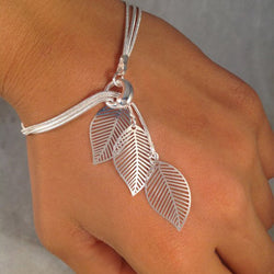 Women Leaves Bracelets Delicate Hollowed-out Leaf Bangle Party Accessories