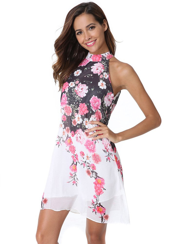 Stand Collar Sleeveless Floral Prints Girl's Day Dress