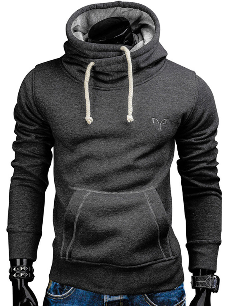 Solid Color Loose Kangaroo Pocket Men's Hoodie